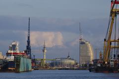 Bremerhaven (germany) - sight from the harbour to the inner city Stock Photos