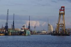 Stock Photo of bremerhaven (germany) - sight from the harbour to the inner city