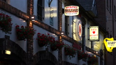 Zoom, beer signs, duke of york pub, belfast, northern ireland Stock Footage