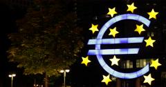 Ultra HD 4K Euro Sign Frankfurt Illuminated Night Lights Front European Germany Stock Footage