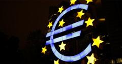 UltraHD 4K Famous German City Symbol Euro Sign Frankfurt Night Light Icon German Stock Footage
