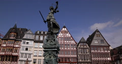 Ultra HD 4K Frankfurt Old City Justice Statue Colorful Houses Square Romerplatz Stock Footage