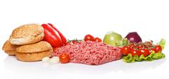Ingredients for burger Stock Photos