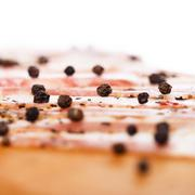 bacon on wooden board - stock photo