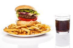 Burger, fries and coke Stock Photos