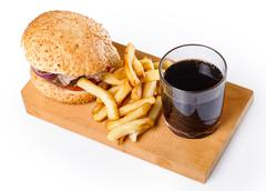 burger, fries and coke - stock photo