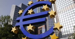 Ultra HD 4K Famous German City Symbol Euro Sign Frankfurt Iconic German Landmark Stock Footage