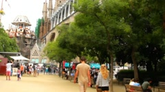 Small park near Sagrada Familia  catherdral in Barcelona at overcast evening Stock Footage