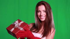 sexy girl wearing santa claus clothes over green screen - stock footage