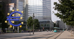UltraHD 4K Tram Passing Financial Center Frankfurt Euro Sign Central Bank People Stock Footage