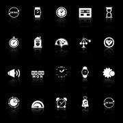 time related icons with reflect on black background - stock illustration