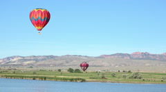 Hot air balloons lake rural farms 4K 062 Stock Footage