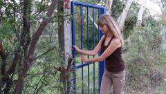Girl Trespassing Someone's Property - stock footage