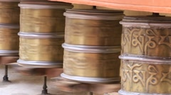 Buddhist prayer wheels in Tibetan monastery . India,  Ladakh Stock Footage