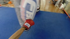POV Heavy bag / Punching bag work with gloves, slow-mo ramps Stock Footage