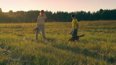 Children with dog in the field during summer vacation, sunset, peaceful Stock Footage