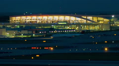 Atlanta Airport International Terminal Evening Stock Footage