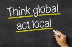think global - act local - stock illustration
