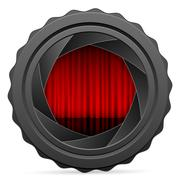 camera shutter with red curtain - stock illustration