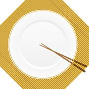 chopsticks and plate on bamboo cover - stock illustration