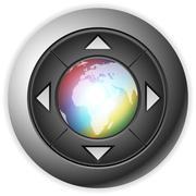 Multimedia button globe  Stock Illustration