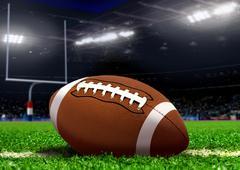 Football ball on grass in stadium Kuvituskuvat