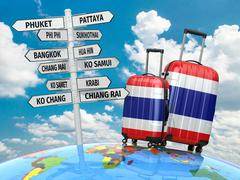 Travel concept. suitcases and signpost what to visit in thailand. Stock Illustration