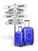 Travel concept. suitcases and signpost what to visit in european union Stock Illustration