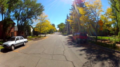 Autumn Colors On Trees In Small Town Neighborhood Stock Footage