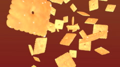 falling soda crackers - stock footage