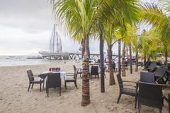 Beach front restaurant in mexico Stock Photos