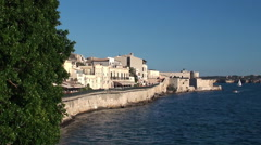Quay of Ortygia island with Maniace (Maniàce) castle. Syracuse Stock Footage
