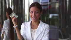 Business woman portrait, money, cash machine, atm card, dollars - stock footage