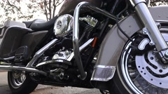 Harley Davidson motorcycle, slider chrome reflection Stock Footage