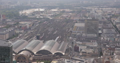 UltraHD 4K Frankfurt Main Central Station Aerial View Trains Departing Arrival Stock Footage