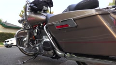 Harley Davidson motorcycle,saddle bags, Stock Footage