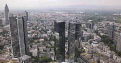 UltraHD 4K Panorama Pan Left Frankfurt Main Aerial Skyline Financial District Stock Footage