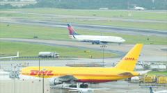 DHL Air Freighter at Atlanta Airport ATL Stock Footage