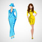 Vector sketch girl in fashion clothes eps - stock illustration