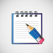 Vector notebook with clean sheets un pencil - stock illustration