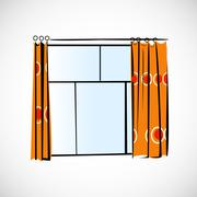 Window with curtains on a bright background Stock Illustration