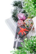 Elevated view on christmas present gifts, tinsel Stock Photos