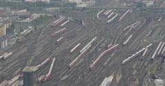 UHD 4K Frankfurt Main Central Railway Station Aerial View Trains Passing Traffic Stock Footage