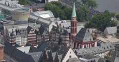Ultra HD 4K Roemer Square Frankfurt Aerial View Skyline Old Town Houses Roof Day Stock Footage