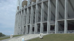 Biggest football arena Romania, national soccer stadium thousands of fans inside Stock Footage