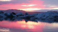 Jokulsarlon Glacier Lagoon, Icebergs in Iceland Stock Footage