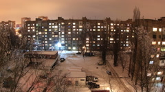Winter. Buildings with flats at night, timelapse. Full HD Stock Footage