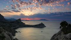 Timelapse sunrise in the mountains. Noviy Svet, Crimea, Russia. Full HD Stock Footage