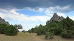 Cloudy sky over the mountains Karaul Oba. Noviy Svet, Crimea, Russia. Full HD Stock Footage