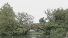 Central Park ivy covered bridge over ducks in pond Stock Footage